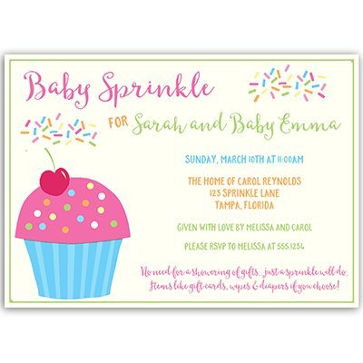 Baby Sprinkle Invitations, Second Baby, It's a Girl, Cupcake, Sprinkles, Dessert, Bar, Pink, Aqua, Blue, Green, Candy, Personalized, 10 Printed Invites & Envelopes, Cupcake Sprinkle -