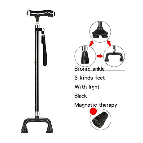 XIHAA Elderly Light Walking Stick Adjustable Telescopic Hiking Cane Elderly Crutch Stick Magnetic Therapy Fitness Aid Black Color Golden Color,Black by XIHAA