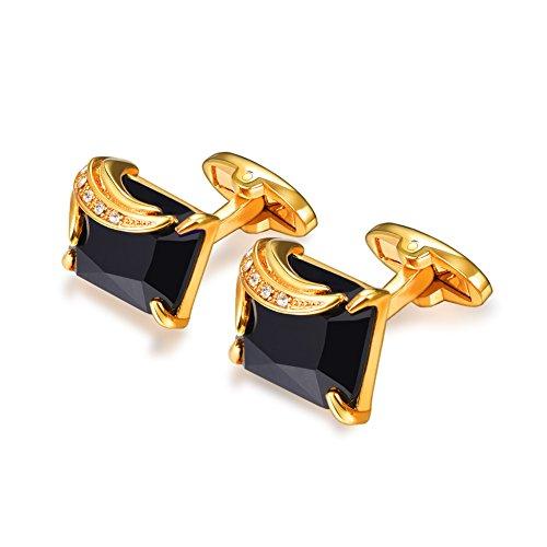 (U7 Crystal Cufflinks Women Men Metal Gold/Platinum Plated Fancy Stone Cuff Links (Black & Gold))