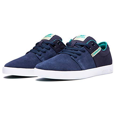 Supra Footwear - Stacks II Low Top Skate Shoes, Navy/Stone-White, 15.5 M US Women/14 M US Men (Navy Supra)