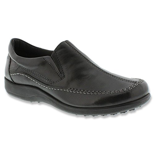 Walking Cradles Mujeres Answer Slip-on Loafer Black Waxy Wash Leather