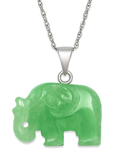 Sterling Silver Unisex Natural Green Jade Elephant Charm Pendant Necklace,18