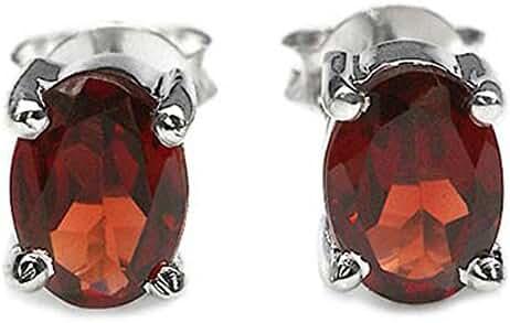 1.95ctw, 5x7mm Oval Genuine Gemstones & Solid .925 Sterling Silver Stud Earrings