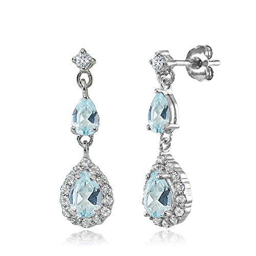 Sterling Silver Blue and White Topaz Fashion Teardrop Dangle (Blue Teardrop Earring)