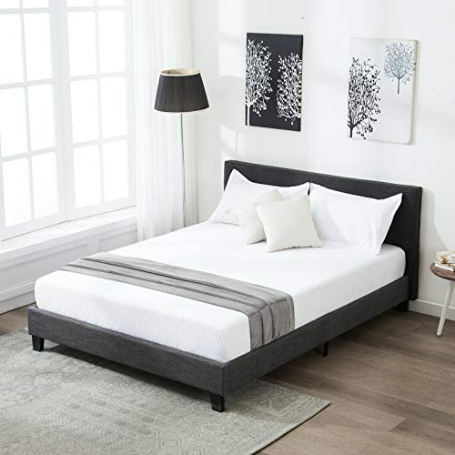 Canvoi Queen Size Platform Bed Frame Upholstered Gray Linen Headboard with Wood Slats