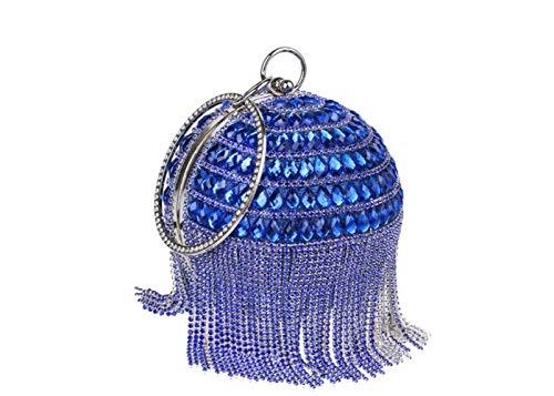 Mini Forma Sacchetto Borsa Moda Rotonda Di Sera Blue Selvatici Banchetto Signore Fringe Sera Bag qwYBqdp