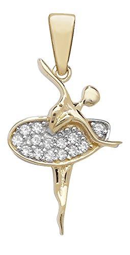 Pour Enfant Or 9ct-Oxyde de zirconium-Ballerine Pendentif sur un collier de Prince Pays De Galles