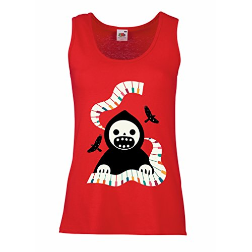 Sleeveless t Shirts for Women Halloween Horror Nights - The Death is Playing on Piano - Cool Scarry Design (Small Red Multi Color) -