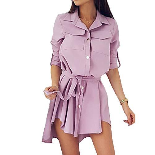 TTSKIRT Mujer Básico Vaina Vestido Un Color Asimétrico,Blushingpink,XXL
