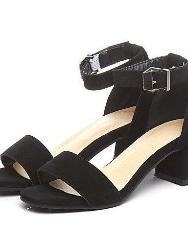 LFNLYX Zapatos de mujer-Tacón Robusto-Punta Abierta / D'Orsay y Dos Piezas-Sandalias-Oficina y Trabajo / Vestido / Casual-PU-Negro / Amarillo / gray