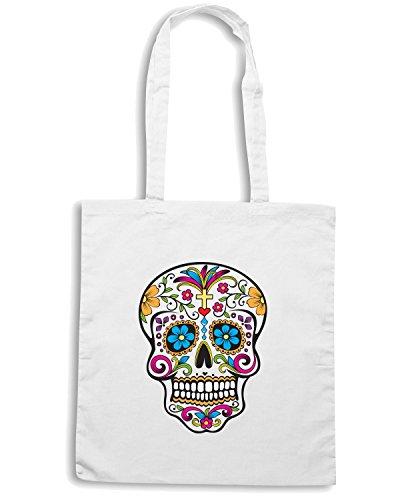 T-Shirtshock - Bolsa para la compra T0772 mexico skull vintage Blanco