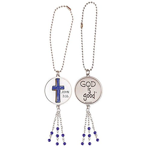 God is Good Blue Cross Antique Silver Metal Auto Mirror Dangle Car Charm -