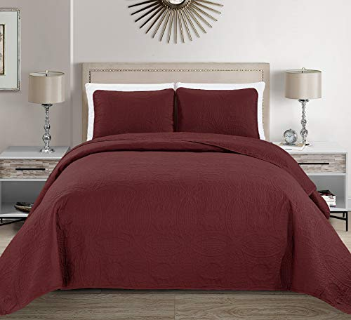 MK Home Mk Collection 3pc King/California King Solid Embossed Bedspread Bed Cover Over Size Burgundy
