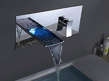 Badewannen armaturen wasserfall  tougmoo LED Wasserhahn Wand montiert Badezimmer Wand Armaturen LED ...