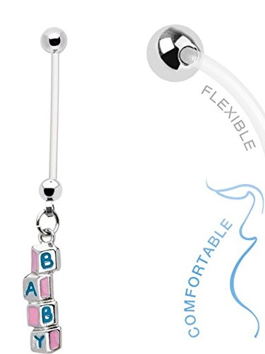Baby Building Blocks Dangle 14g BioFlex Maternity Pregnancy Pregnant Navel Bio Flex Navel Belly Button Ring