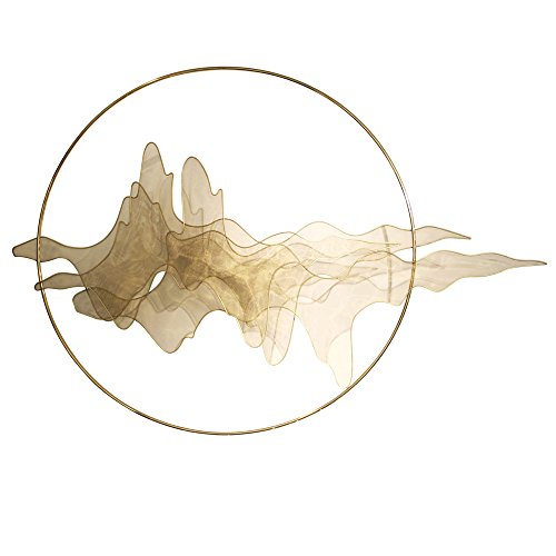 sankontran Handmade Creative Abstract Chinese Modern Gold Metal Wall Art Mountain Decoration Hanging Sculpture in Stainless Steel for Living Room of Home Decor (43inches gold)