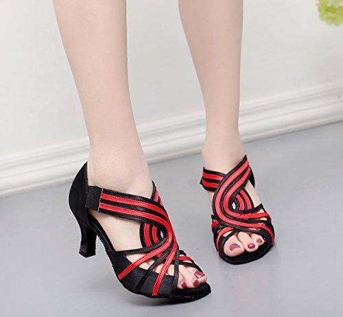 Minitoo - De salón mujer Black Red-6cm Heel