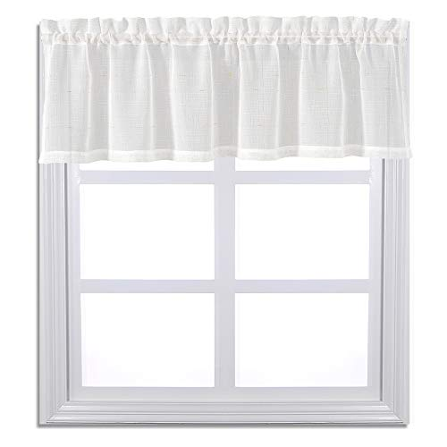 Rod Pocket Textured Plain Sheer Valance Gold Thread Checkered Design on White Voile Curtain Drapes Casual Weave for Nursery Bedroom Living Room (W60 x L18, Golden Thread, sold by individually)