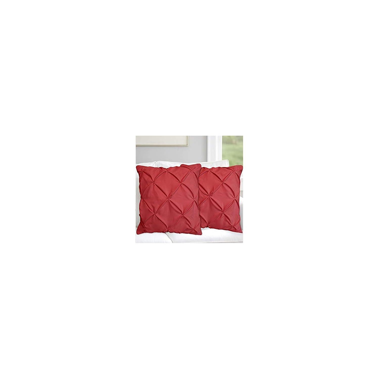 "Valencia Beddings Burgundy Pinch Pleated Pintuck Pillow Shams Set of 2 – Premium 350 Ultra-Soft Natural Cotton Decorative Pillow Cover Pintuck European Pillow Sham 2 Pack, Euro 26"" x 26"""