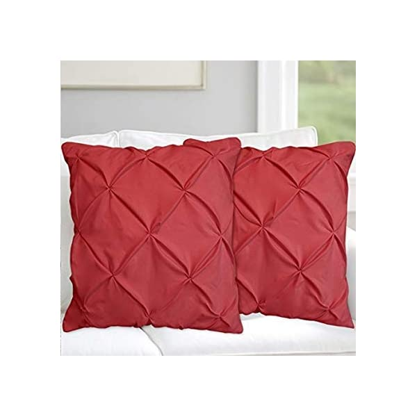 "Valencia Beddings Burgundy Pinch Pleated Pintuck Pillow Shams Set of 2 – Premium 350 Ultra-Soft Natural Cotton Decorative Pillow Cover Pintuck European Pillow Sham 2 Pack, Euro 26"" x 26"""
