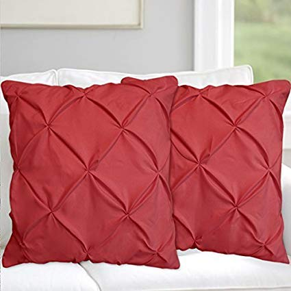 Valencia Beddings Burgundy Pinch Pleated Pintuck Pillow Shams Set of 2 - Premium 350 Ultra-Soft Natural Cotton Decorative Pillow Cover Pintuck European Pillow Sham 2 Pack, Euro 26'' x 26'' (Burgundy Shams Pillow Euro)