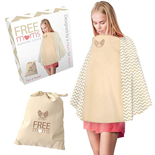 360° Nursing Cover Poncho Style – Rigid Neckline Breastfeeding Cover with Carry Bag – Covers Fully – Soft Breathable Cotton to Fit All for Discreet Feeding in Public
