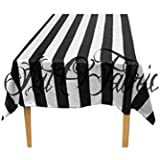 "ArtOFabric Decorative Cotton Stripped Black and White Tablecloth in 59""x72"" Inch"