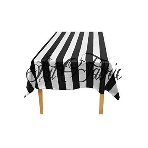 Striped Cotton Tablecloth (ArtOFabric Decorative Cotton Black and White Stripped Tablecloth 59