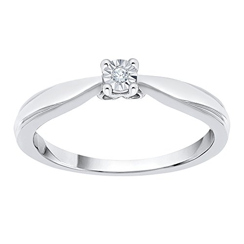 Diamond Accent Promise Ring in Sterling Silver (I-Color, SI3-I1 Clarity) (Size-7.5) by KATARINA