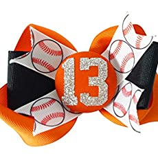 77fbed2804fb Orange Black - or Choose Your Team Colors - Glitter Baseball Hair Bow
