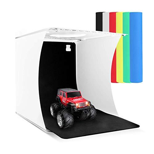 Zenic Photo Studio Box, Mini Portable Folding Photography Photo Studio Shooting Tents with Dual LED Lights and 6 Backdrops