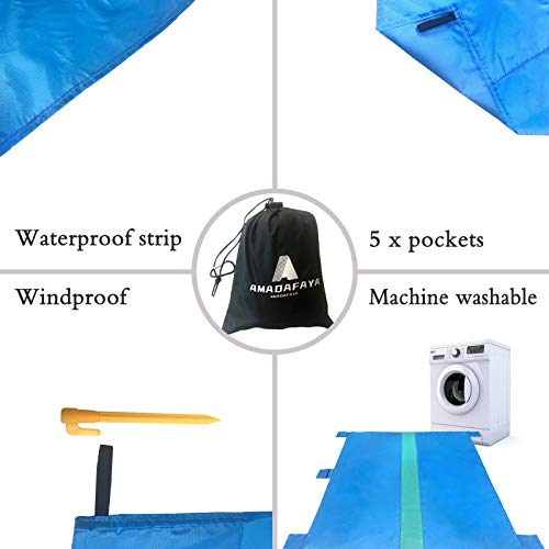 AMADAFAYA Sandfree Beach Blanket,Waterproof Sandproof Beach Mat 79\'\'×83\'\' Oversized Large Portable Lightweight Pocket Picnic Blanket,Outdoor Blanket for Travel, Camping, Hiking Blue Green Mat