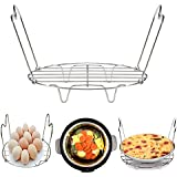 KSPOWWIN Stainless Steel Steamer Rack Trivet with Handles Compatible with Instant Pot Accessories 3 Qt 5 Qt, Perfect for Lifting out Whatever Delicious Food You Cook