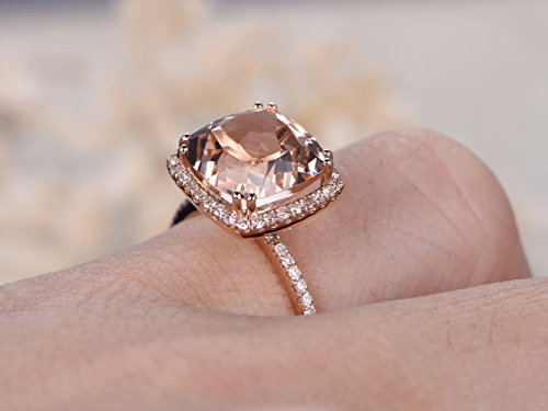Pink Morganite Engagement Ring Set,9mm Cushion VS Gem HALO,14k Rose Gold Vintage Diamond Promise Rings