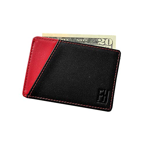 F&H Signature RFID Minimalist Sleeve in Top Grain Leather (Black/Red) ()