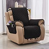 Black Recliner Chair Cover with Pockets for Pets, Armchair Protector Slipcover