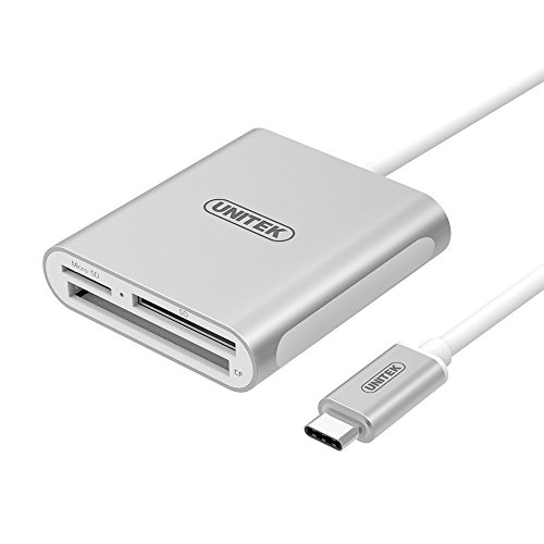 USB C Card Reader, Read 2 Cards Simultaneously, UNITEK Type C Superspeed Aluminum USB 3.0 Multi-in-1 Card Reader for CF/SD/TF Micro SD/MD/MMC/SDHC/SDXC, New MacBook, 2016 MacBook Pro, ChromeBook Pixel