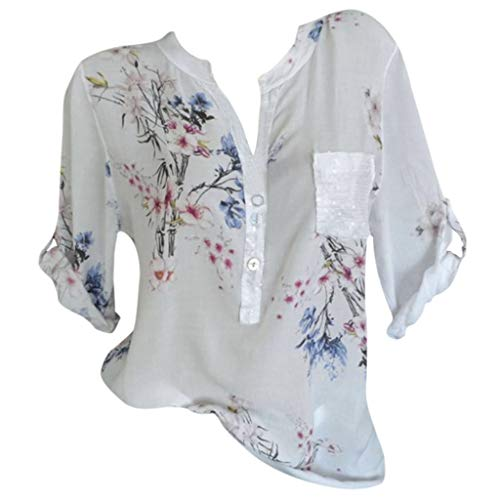 Nevera Tops for Women Printed V Neck Cuffed Sleeve Loose Button Tunics Tops Plus Size for Ladies White