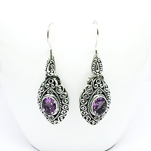bali carving silver earrings with genuine brazilian amethyst, 925 sterling silver and gems earrings Sterling Silver Brazilian Amethyst Ring