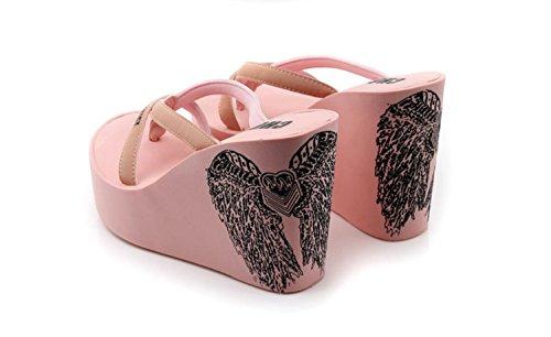 cuñas de Antideslizantes Mujer Rosado caseros Zapatos Alto con para DANDANJIE de de Alto Chanclas Zapatos Negro de tacón tacón Verano Vacaciones Rosa WIqRPZx