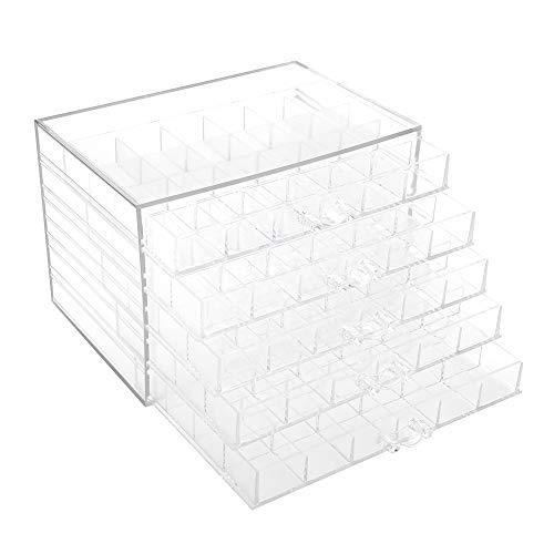 Caja de almacenamiento de uñas transparente de malla 120, gaveta de 5 capas, resistente al agua y al polvo, apariencia...