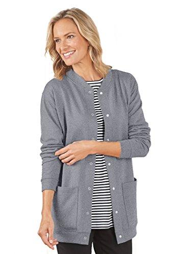 Fleece Cardigan Plus Size Heather Gray
