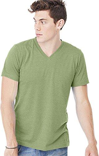 Bella + Canvas Unisex Jersey Short-Sleeve V-Neck T-Shirt, Large, HEATHER GREEN ()