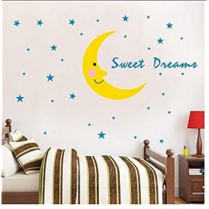 Buzdao 3D Cloud Moon Star Ornaments Wall Sticker Baby Kids Room Decoration Sweet Dream Wood Wall Decal Nursery Decor Murals Accessories