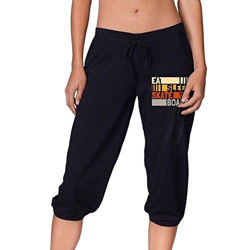 Okb-7 Women Eat Sleep Skateboard repeat Cropped Trousers,Lounge Pants Casual Sport Sweatpants