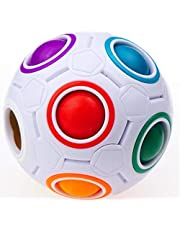Speed Magic Ball Cube 2.5 inches YJ Rainbow Puzzle Ball Cube, 12 Holes with 11 Different Color Small Balls Fidget Ball Cube