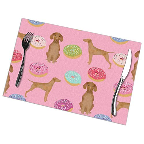 shirt home Vizsla Dogs Donut Food Novelty Funny Cute Pink Don Concrete and Copper Placemats for Dining Table,Washable Placemat Set of 6, 12x18 inch