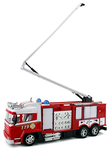Pioneer Fire Dept. Remote Control RC Truck Ready To Run w/ Lights, Sounds, Extending Crane -  Velocity Toys, 0063780179489