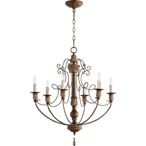 Quorum Lighting 6106-6-39, Salento 1 Tier Chandelier Lighting, 6LT, 120 Watts, Vintage Copper (Lighting 1 Tier)