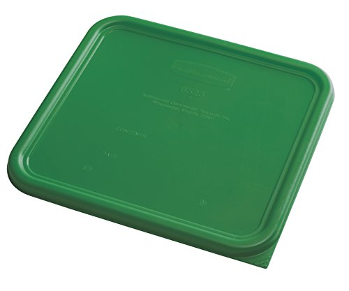 Rubbermaid Commercial Products 1980308 Rubbermaid Commercial Plastic Food Storage Container Lid, Square, Green, 12 Quart